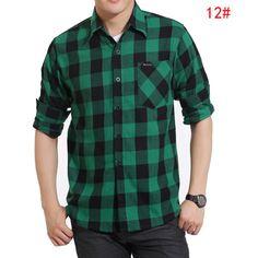 88714444e9 Dos homens 100% algodão camisa xadrez masculina camisa de manga comprida  casual camisa xadrez solta grosso em Camisas Casuais de Roupas   acessórios  no ...