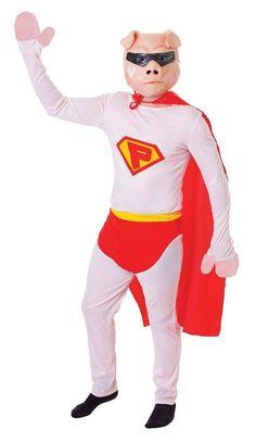 Super Pig with Mask Super Hero Adult Fancy Dress Costume - The Dragons Den Fancy Dress