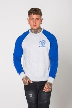 Franklin & Marshall Two-tone Sweatshirt - Blue, Round neck plush sweatshirt,  Sleeves with contrasting colours