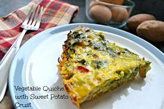 Vegetable Quiche with Sweet Potato Crust. Coconut milk to replace almond milk for whole30