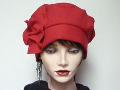 Bright Red Wool Cloche Hat