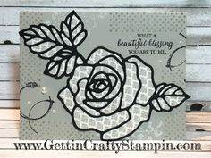 Gettin' Crafty Stampin' with Jamie: Vintage rose blessing hand-stamped card