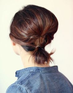 updo with a small low pony for short hair