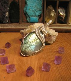 Mermaids Mirror Statement Pendant - Sterling Silver Wire Wrap Labradorite -Healing Gemstone Protection Amulet - One of a Kind Wearable Art by PrimalPulseDesigns on Etsy
