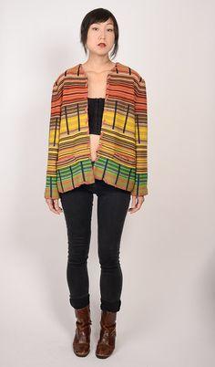 Beautiful mod vintage 1960s/1970s boho desert stripe wool jacket