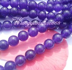 '100pcs Violet Jade Round Beads 6mm' is going up for auction at  8pm Thu, Jan 17 with a starting bid of $5.