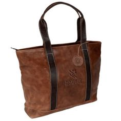 Two-Tone Leather Tote with a debossed imprint