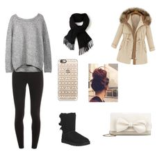 """Cute night out in winter"" by sagedancer on Polyvore featuring Splendid, UGG Australia, Casetify, RED Valentino and Lacoste"