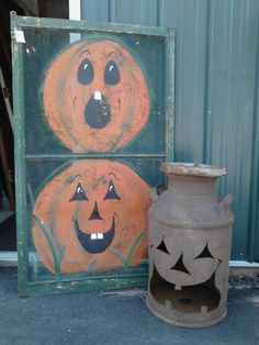 Jack-0-Milkcan and Old Window Screen Painting of Pumpkins