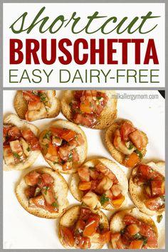It's garden season and we have the perfect easy snack for your tomato and basil harvest! Check out this shortcut, dairy-free bruschetta recipe at Milk Allergy Mom. You will love it! And so will your kids, nom nom! Dairy Free Options, Dairy Free Recipes, Milk Allergy, Basil Recipes, Bruschetta Recipe, Dairy Free Milk, Recipe For Mom, Easy Snacks, Food Allergies