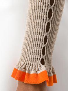 Fendi Contrast Cuff Sweater | Rib Knit Sweater with Ruffle Cuff