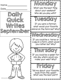 Perfect fall ideas for writing. We use these as weekly quick writes writing prompts for morning work. After we spend some time working on answering in complete sentences, students are able to write one or two sentences to quickly respond to the prompts. Writing Prompts 2nd Grade, Writing Mini Lessons, Third Grade Writing, Writing Prompts For Kids, Kindergarten Writing, Writing Workshop, Kids Writing, Teaching Writing, Writing Activities
