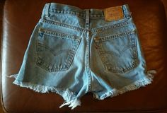 VINTAGE 90s HIGH WAISTED Levis 569 CUT OFF DENIM EDM Festival JEAN SHORTS 12 26 in Clothing, Shoes & Accessories, Vintage, Women's Vintage Clothing | eBay