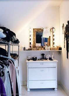 Vanity idea - this looks like such a mess but if it were organized it would be perfect!