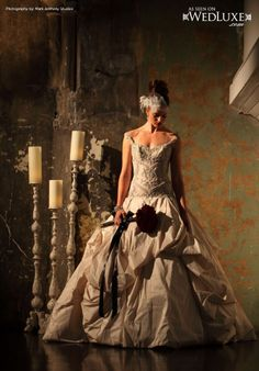 "Ines Di Santo ""Serendipity"" gown featured in the 'Phantom of the Opera' editorial for WedLuxe"