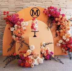 Party Decoration, Backdrop Decorations, Balloon Decorations, Backdrops, Wedding Decorations, Backdrop Ideas, Wedding Cake Backdrop, Orange Balloons, Event Signage