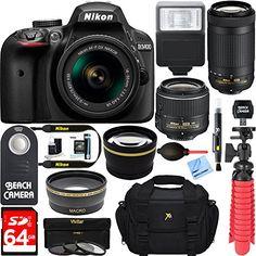 Nikon D3400 24.2 MP DSLR Camera  AF-P DX 18-55mm & 70-300mm NIKKOR Zoom Lens Kit  64GB Memory Bundle  Photo Bag  Wide Angle Lens  2x Telephoto Lens  Flash  Remote TripodFilters (Black)