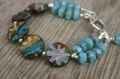 Sky Blue and Brown Czech Glass Bracelet, Summer Bracelet,  Blue Glass Bracelet, Czech Glass Jewelry, Beach Bracelet
