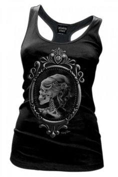 Womens-Pinky-Star-Lolita-Racerback-Tank-Top-Victorian-Skeleton-Skull-Cameo