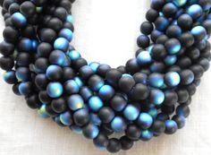 50 6mm Jet Black Matte AB Czech glass round by GloriousGlassBeads