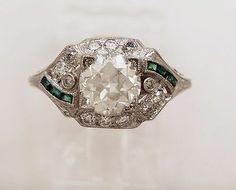 Antique Platinum, Diamond & Emerald Art Deco Engagement Ring-J33061