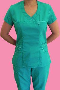 Resultado de imagen para molde para hacer filipina quirúrgica Dental Scrubs, Medical Scrubs, Cute Scrubs, Scrubs Uniform, Medical Uniforms, Nursing Clothes, Professional Outfits, Scrub Tops, Work Wear