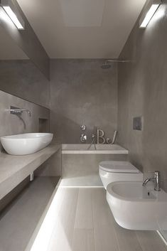 If you have a small bathroom in your home, don't be confuse to change to make it look larger. Not only small bathroom, but also the largest bathrooms have their problems and design flaws. For the … Grey Bathrooms, Beautiful Bathrooms, Modern Bathroom, Small Bathroom, White Bathroom, Bathroom Bath, Bad Inspiration, Bathroom Inspiration, White House Interior