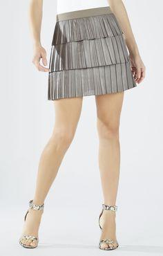 BCBGMAXAZRIA Zana Tiered Pleated Skirt | BCBG.com