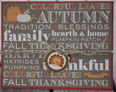 Thanksgiving Card, Autumn Blessings Card, Hearth and Home Card, Holiday Card, Fall Blank Notecard by 19Designs on Etsy