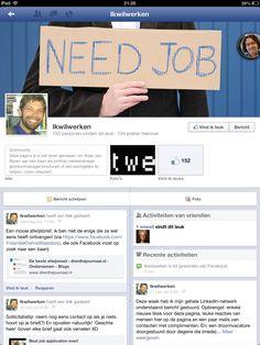 Facebookpagina van Arjan van Bijnen. Hij zoekt een baan als (online) mediamanager. http://www.facebook.com/ikwilwerken
