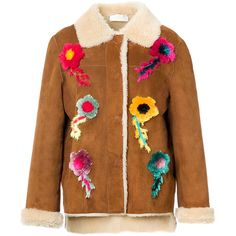 MATE Official Threadwork Embroidered Merino Shearling Jacket (125 345 UAH) ❤ liked on Polyvore featuring outerwear, jackets, shearling jacket, brown shearling jacket, floral print jacket, merino wool jacket and flower print jacket