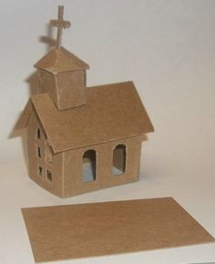Putz Style Christmas House- Mini Church/Ornament lots of little putz houses to decorate ETSY