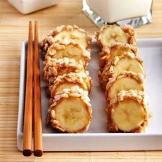 Healthy Banana Sushi Recipe: Coat banana slices in peanut butter then roll them in crisp rice cereal—your snack will be ready in minutes.