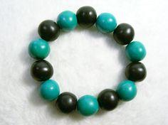 Black, Jade and Turquoise Stretch Bracelet