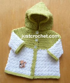fjc124-Newborn Hooded Coat Baby Crochet Pattern | Craftsy