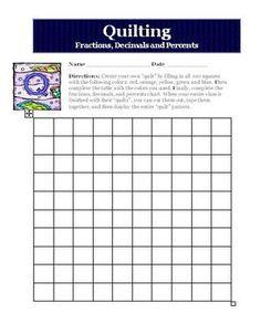 Fractions, Decimals, Percents Quilt Activity Worksheet Com