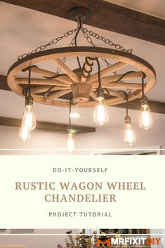 Learn how to make this DIY Wagon Wheel Chandelier in this ea… – Chandelier Ideas Wagon Wheel Chandelier Diy, Outdoor Chandelier, Kitchen Chandelier, Rustic Chandelier, Rustic Lighting, Table Lighting, Light Table, Lighting Ideas, Chandelier Ideas
