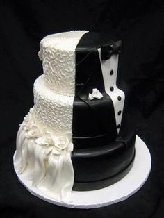 cool idea for a wedding cake! half and half www.brayola.com