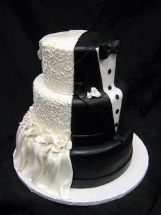 cool idea for a wedding cake! half and half www.brayola.com