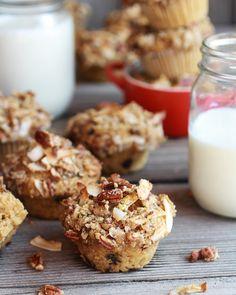 "Sweet Potato, Quinoa and Dark Chocolate Coconut Crumble Crunch Muffins Recipe -- from of the BEST Quinoa Breakfast Recipes"" Breakfast Bars Healthy, Quinoa Breakfast, Breakfast Muffins, Breakfast Recipes, Dessert Recipes, Desserts, Healthy Muffins, Quinoa Muffins, Coconut Muffins"