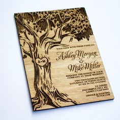 SAMPLE - Oak Tree Wooden Wedding Invitation - Real Wood - Laser Engraved - Save the Date