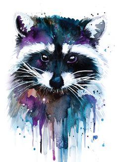 Raccoon Illustration, Art And Illustration, Painting & Drawing, Painting Prints, Art Prints, Painting Abstract, Art Inspo, Animal Drawings, Art Drawings