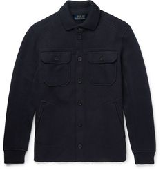#PoloRalphLauren #SlimFit Boiled Stretch Wool-Blend Jacket $400 - Polo #RalphLauren's designs often hark back to American workwear. Cut from a navy boiled stretch wool-blend and finished with a cosy knitted collar and utility-inspired pockets, this rugged #jacket is an apt example. Wear it over a denim shirt at the weekend. #mrporter #wooljacket #ribbedcuffs #pointedcollar #buttonfront #outerwear #winter #fall #flappockets #menswear #fashion #clothing #longsleeves #weltpockets
