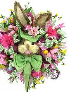 easter wreaths | Deco Mesh Easter Bunny Wreath with head in hot pink and lime green by ...