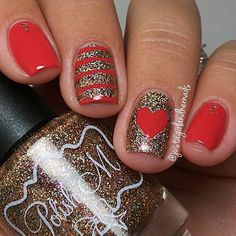 Simple Red & Gold Heart Nail Design
