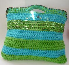 Super Chic Striped  TOTE. Large Handbag.  Crochet by Janevadesigns,