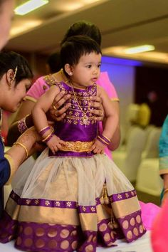 Beige and Purple Kids Lehenga - Indian Dresses Kids Party Wear Dresses, Kids Dress Wear, Kids Gown, Little Girl Dresses, Baby Dresses, Kids Wear, Saris, Kids Ethnic Wear, Kids Lehenga
