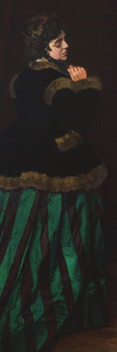 Claude Monet, 1866, The Woman in the Green Dress. She was 19 (detail). Camille Doncieux met Monet, seven years her senior, in 1865 and became his model posing for numerous paintings. She was Monet's mistress, living in poverty at the beginning of his career. She received critical acclaim at the Paris salon and earned him 800 francs when this painting was sold to Arsène Houssaye. In addition to being Monet's favoured model, she also modelled for Renoir and Édouard Manet.
