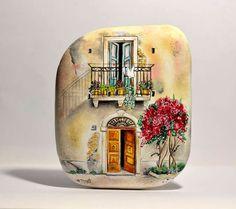 Geschilderd steen dipinto sasso een mano. Toscaanse huis