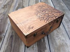 """Reaching Tree"" Pyrography by Mad Raven Woodworks"